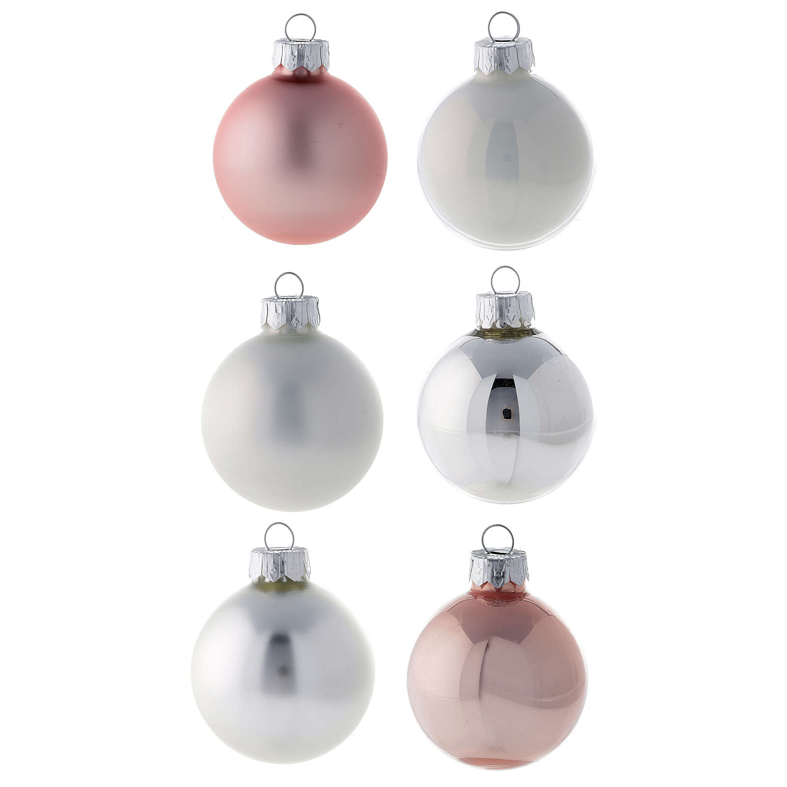 Set puntale 16 palle 50 mm albero Natale vetro soffiato bianco rosa argento 4