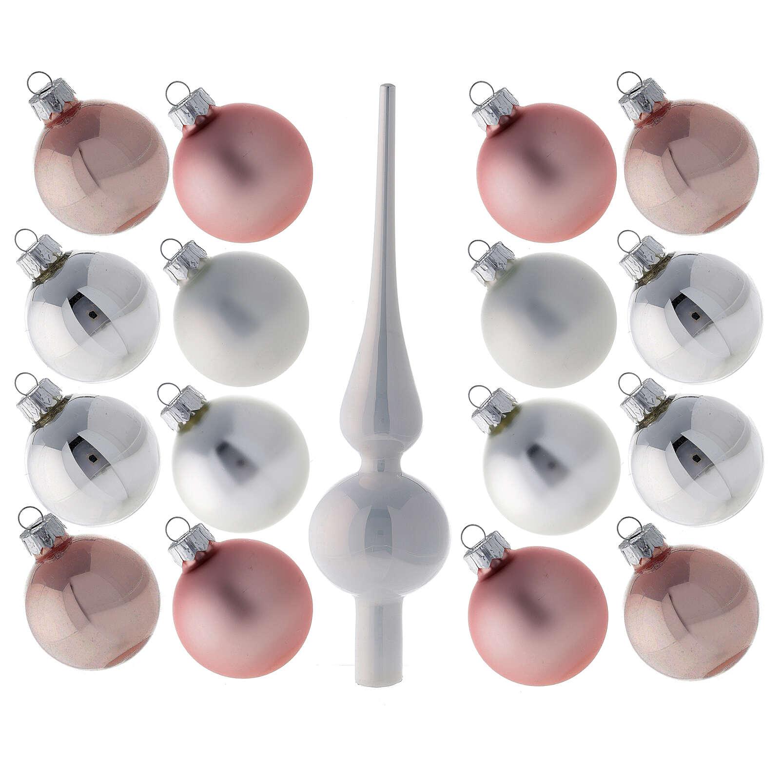 Conjunto ponteira e 16 bolas 50 mm para árvore de natal vidro soprado branco, cor-de-rosa e prata 4