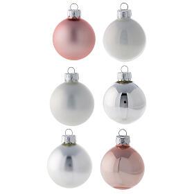 Conjunto ponteira e 16 bolas 50 mm para árvore de natal vidro soprado branco, cor-de-rosa e prata s2