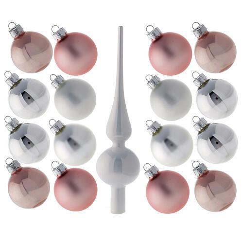 Conjunto ponteira e 16 bolas 50 mm para árvore de natal vidro soprado branco, cor-de-rosa e prata 1
