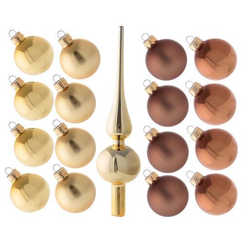 Set 16 bolas 50 mm árbol Navidad oro marrón punta oro vidrio soplado 1