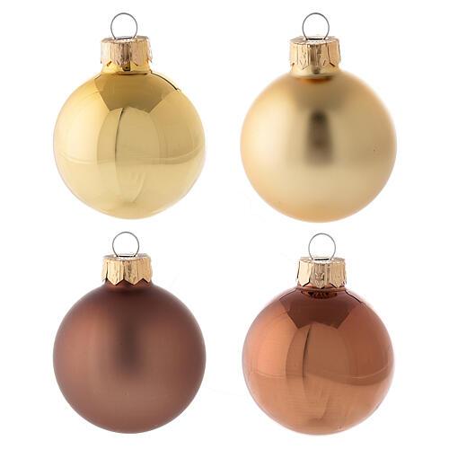 Set 16 bolas 50 mm árbol Navidad oro marrón punta oro vidrio soplado 2
