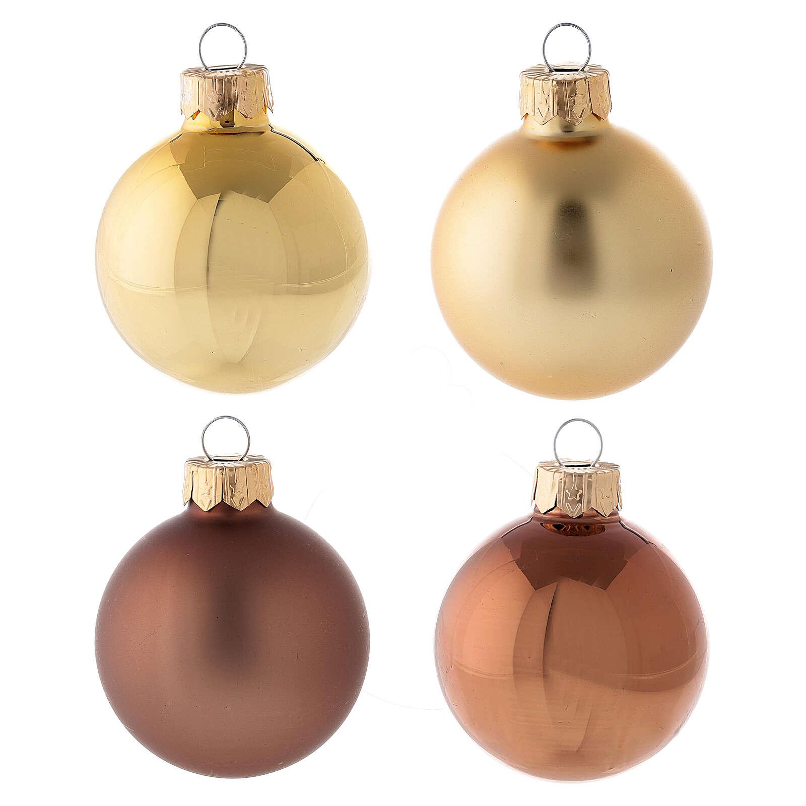 Set cimier et 16 boules de Noël 50 mm verre soufflé or marron 4