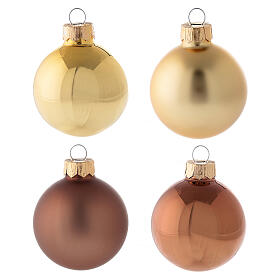 Christmas tree ornament set 15 pcs brown and gold 50 mm and finial tree topper s2