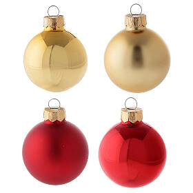 Christmas tree decoration set red gold tip 16 balls blown glass 50 mm s2