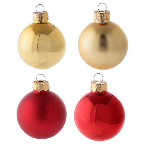 Christmas tree decoration set red gold tip 16 balls blown glass 50 mm 2