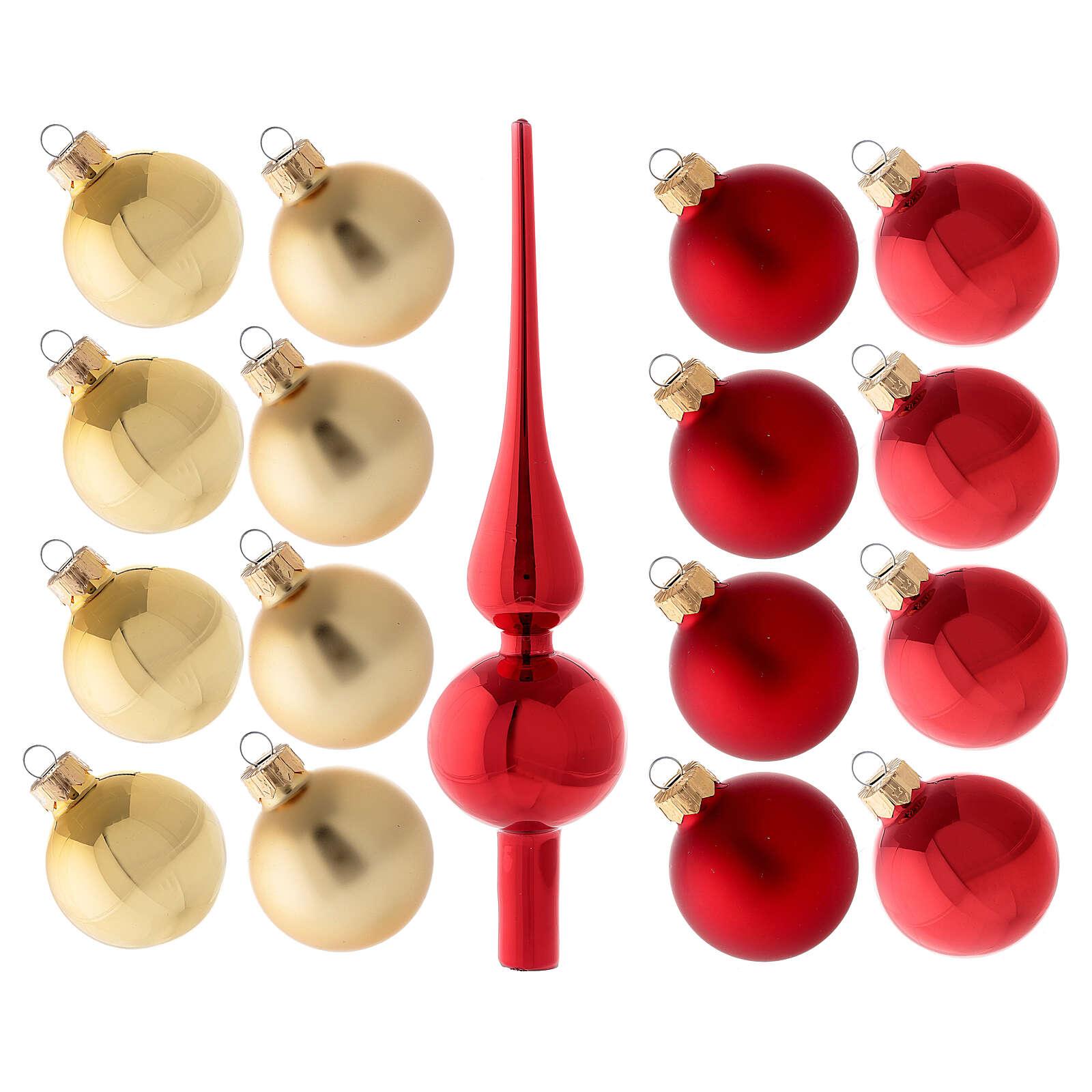 Set decoración árbol Navidad rojo oro punta 16 bolas vidrio soplado 50 mm 4