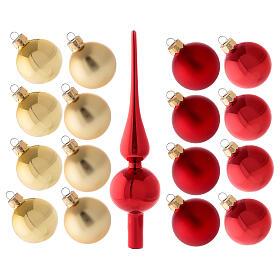Set decoro albero Natale rosso oro puntale 16 palline vetro soffiato 50 mm s1