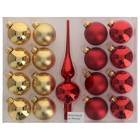 Set decoro albero Natale rosso oro puntale 16 palline vetro soffiato 50 mm s4