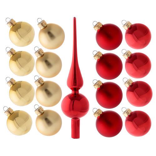 Set decoro albero Natale rosso oro puntale 16 palline vetro soffiato 50 mm 1