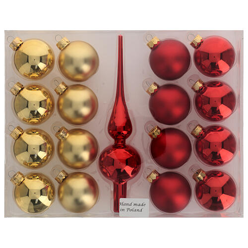 Set decoro albero Natale rosso oro puntale 16 palline vetro soffiato 50 mm 4