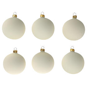 Set 6 bolas blanco nata opaco 80 mm vidrio soplado s1
