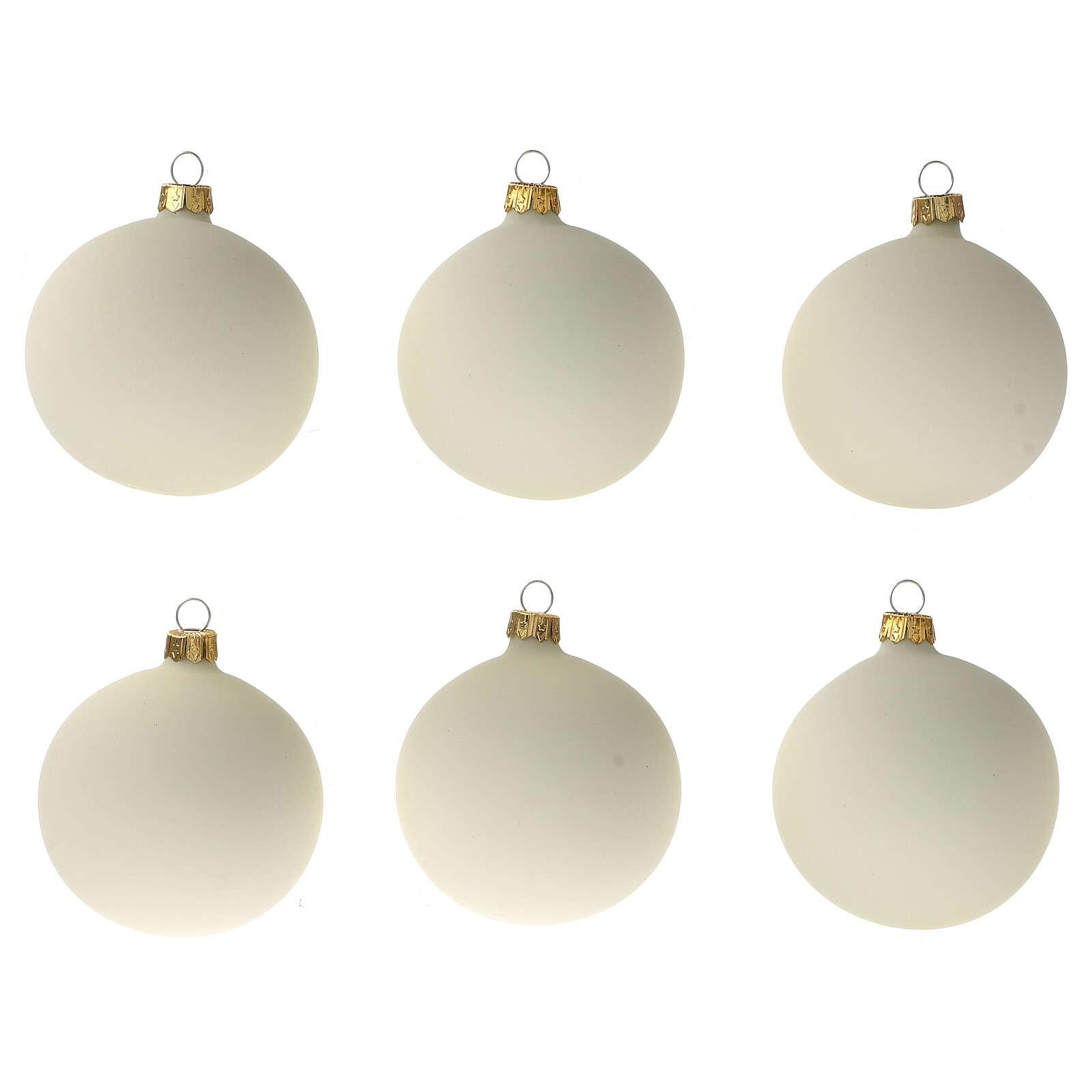 Set 6 palline bianco panna opaco 80 mm vetro soffiato 4
