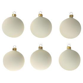 Set 6 palline bianco panna opaco 80 mm vetro soffiato s1