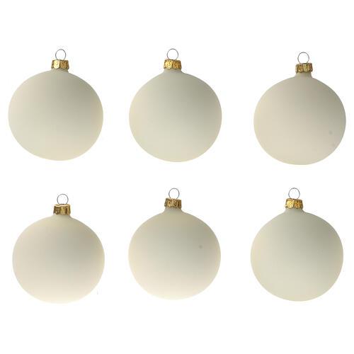 Set 6 palline bianco panna opaco 80 mm vetro soffiato 1