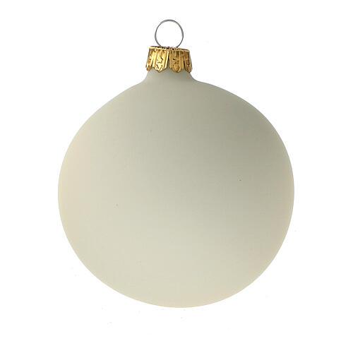 Set 6 palline bianco panna opaco 80 mm vetro soffiato 2
