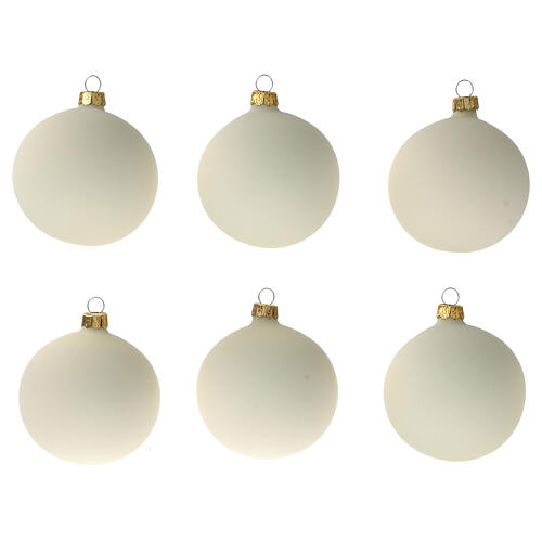 Cream Christmas ball ornament set 6 pcs 80 mm blown glass 1