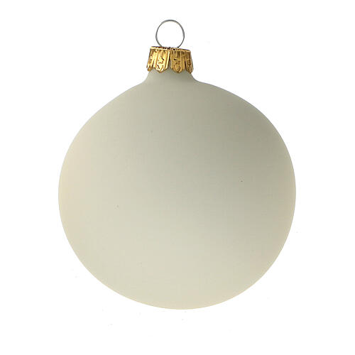 Cream Christmas ball ornament set 6 pcs 80 mm blown glass 2