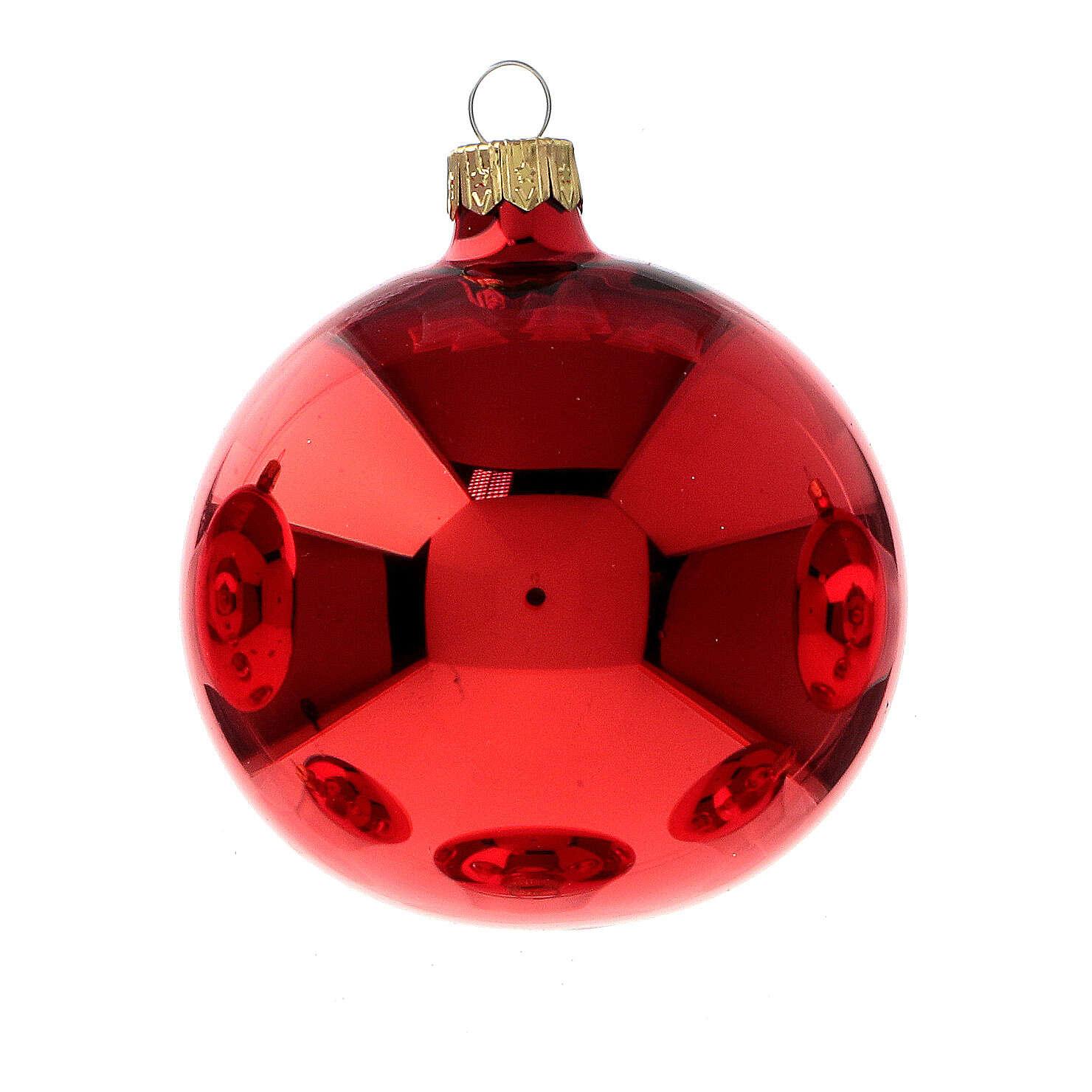 Bolas árvore de Natal vidro soprado vermelho polido 80 mm 6 unidades 4