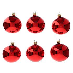 Bolas árvore de Natal vidro soprado vermelho polido 80 mm 6 unidades s1