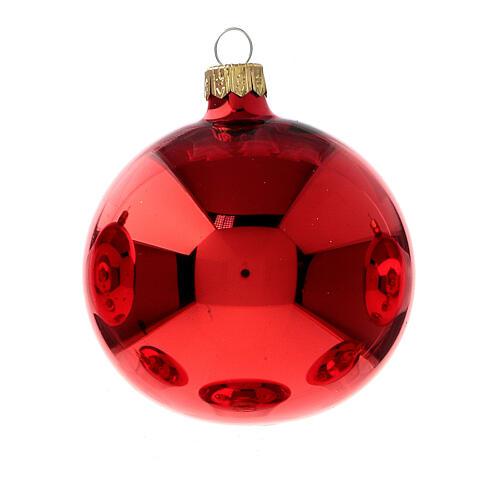 Shiny Red Christmas balls in blown glass 80 mm 6 pcs 2