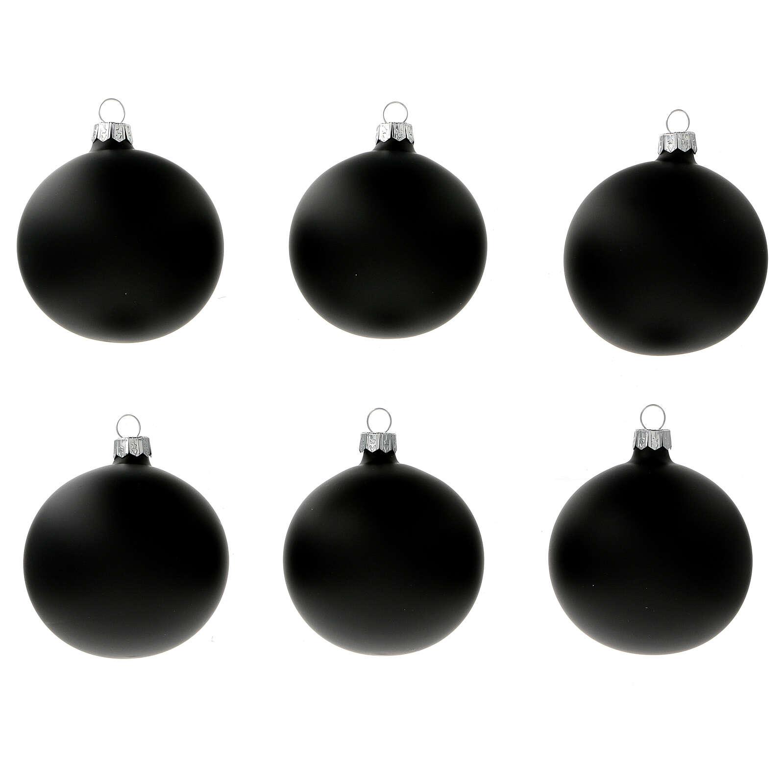 Boules sapin Noël noir mat verre soufflé 80 mm 6 pcs 4
