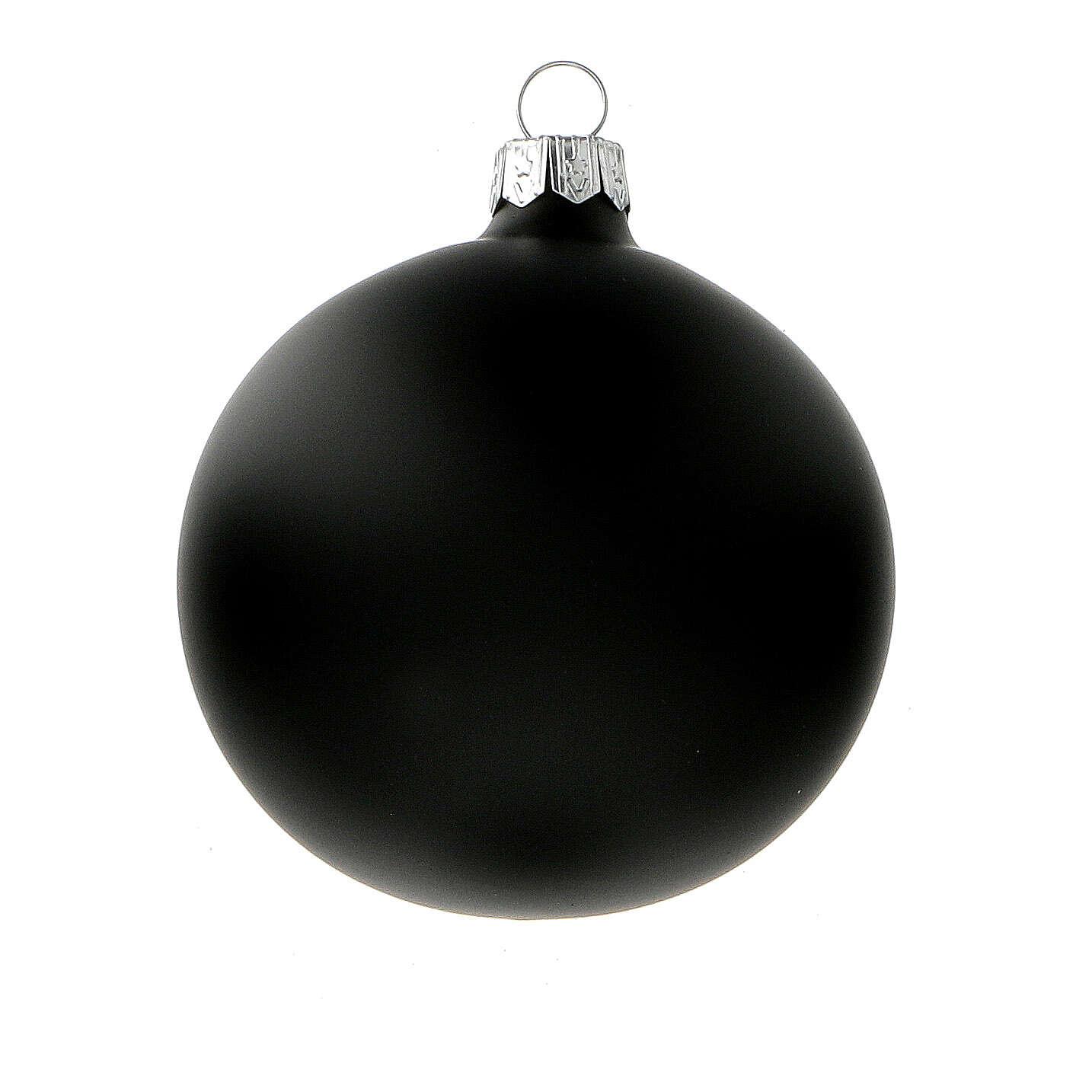 Palline albero Natale nero opaco vetro soffiato 80 mm 6 pz 4
