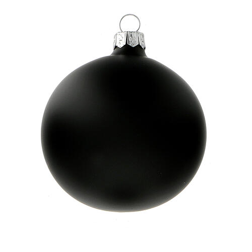 Palline albero Natale nero opaco vetro soffiato 80 mm 6 pz 2