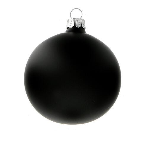 Matte black Christmas balls in blown glass 80 mm 6 pcs 2
