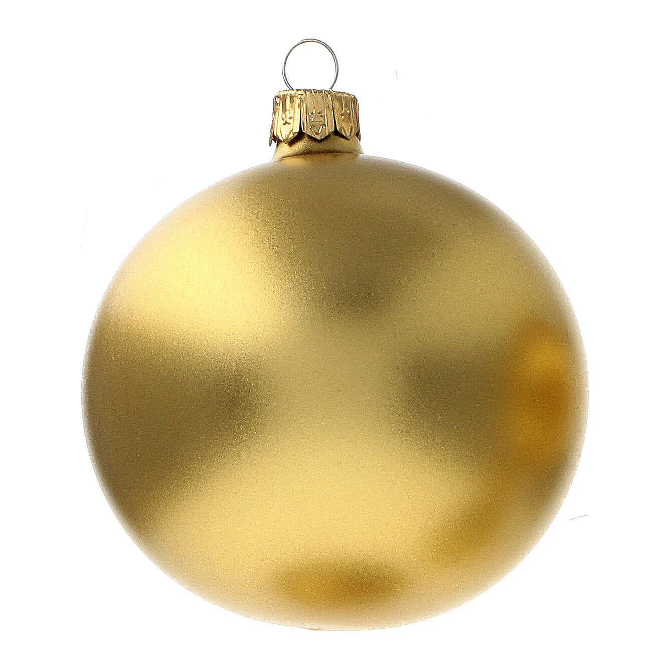 Christmas ball ornament matte gold 80 mm glass blown 6 pcs 4