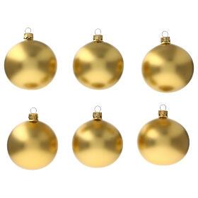 Christmas ball ornament matte gold 80 mm glass blown 6 pcs s1