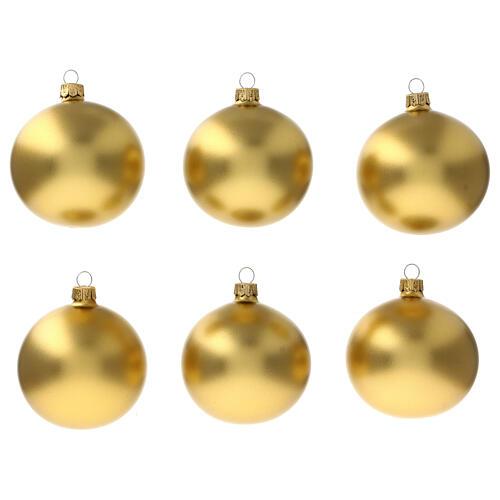 Christmas ball ornament matte gold 80 mm glass blown 6 pcs 1