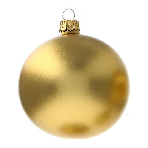 Christmas ball ornament matte gold 80 mm glass blown 6 pcs 2
