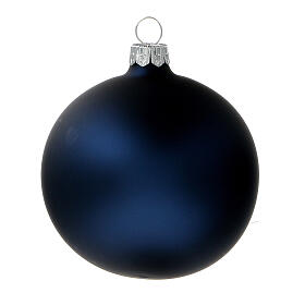 Boules sapin Noël bleu mat verre soufflé 80 mm 6 pcs s2
