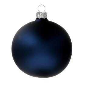 Bolas árvore de Natal vidro soprado azul opaco 80 mm 6 unidades s2