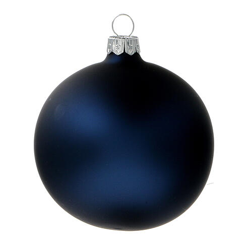 Bolas árvore de Natal vidro soprado azul opaco 80 mm 6 unidades 2