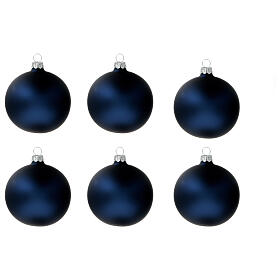 Christmas tree ornaments in matte blue 80 mm blown glass 6 pcs s1