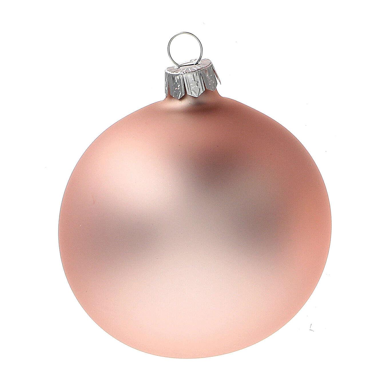 Palline Natale rosa cipria opaco vetro soffiato 80 mm 6 pz 4