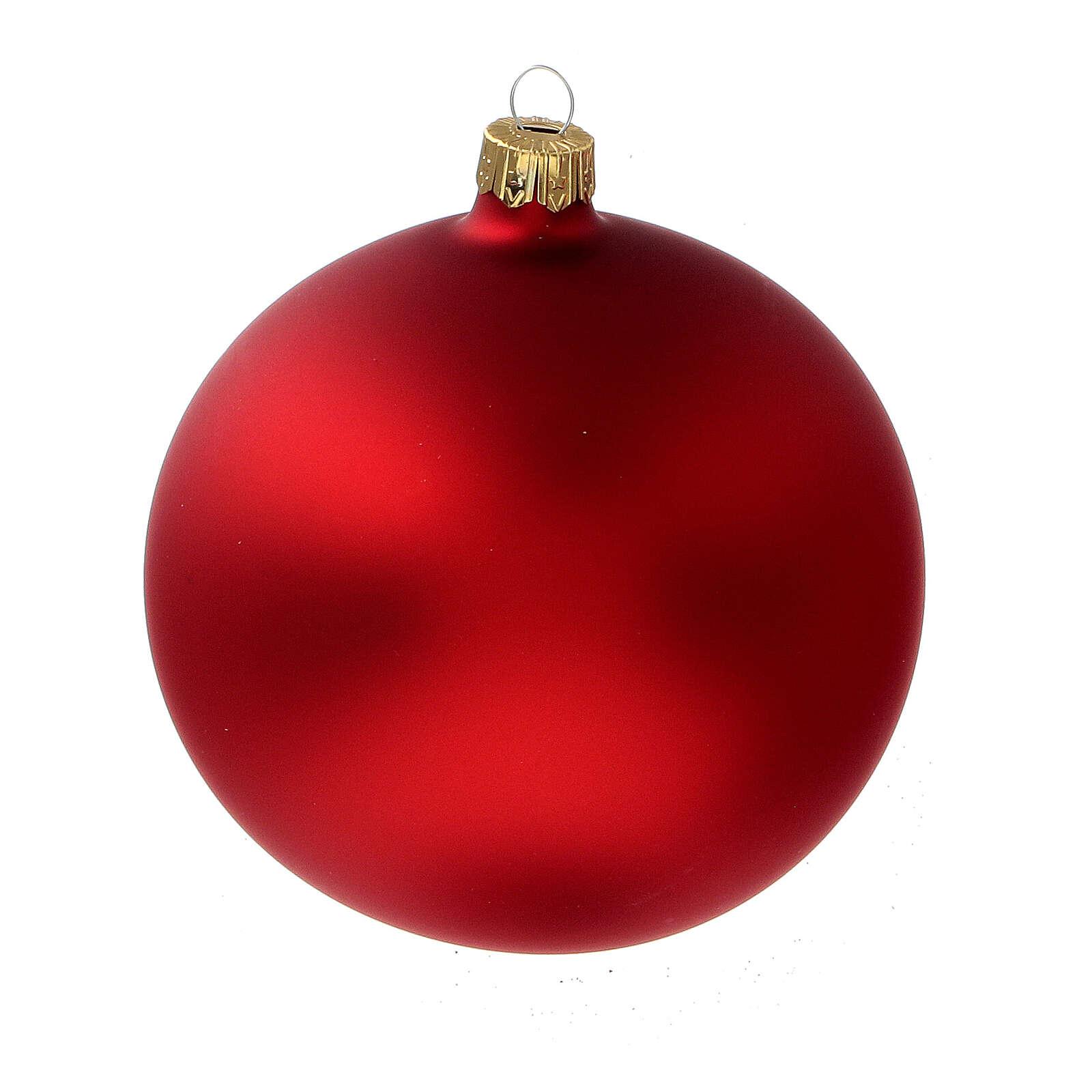 Christmas tree balls matt red 100 mm 4 pcs blown glass 4