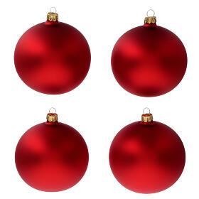 Bolas árvore de Natal vidro soprado vermelho opaco 100 mm 4 unidades s1