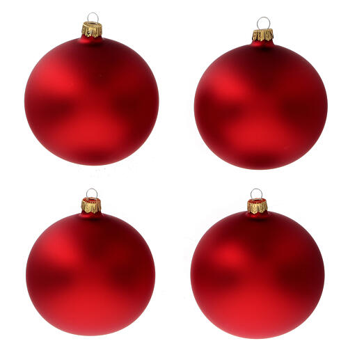 Christmas tree ornaments in matte red 100 mm blown glass 4 pcs 1