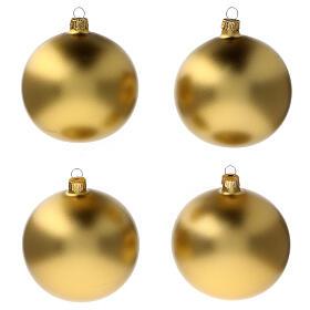 Bolas árvore de Natal vidro soprado ouro opaco 100 mm 4 unidades s1