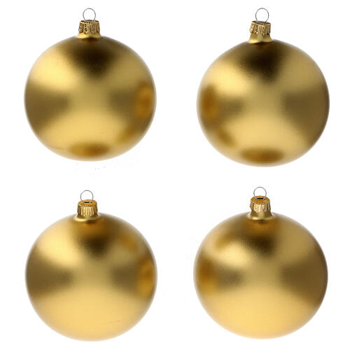 Bolas árvore de Natal vidro soprado ouro opaco 100 mm 4 unidades 1