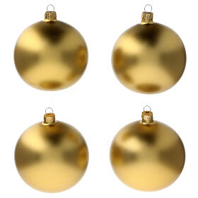 Christmas tree ornaments in matte gold 100 mm blown glass 4 pcs s1