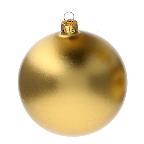 Christmas tree ornaments in matte gold 100 mm blown glass 4 pcs 2
