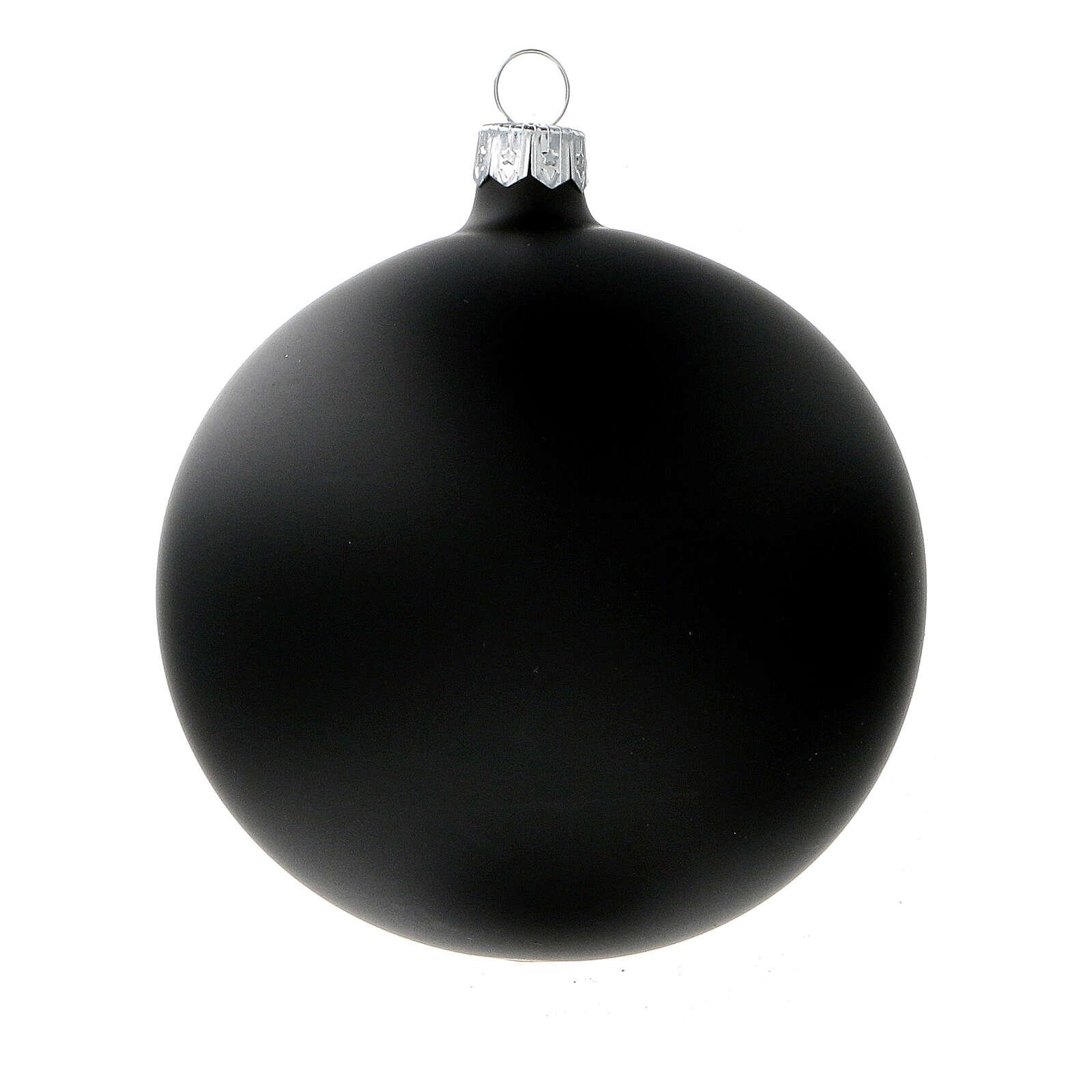 Ball ornaments in matte black 100 mm blown glass 4 pcs 4