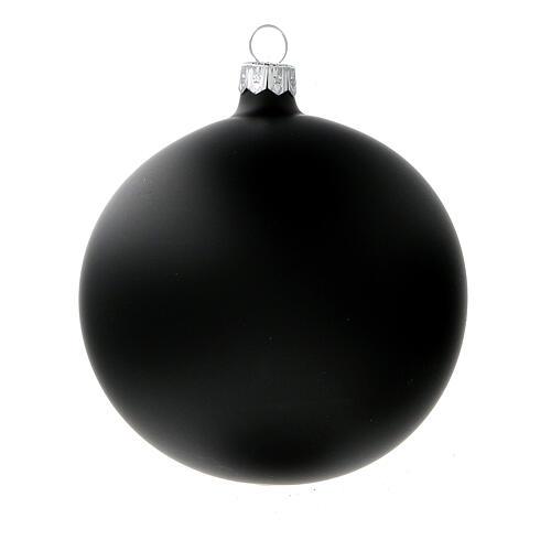 Ball ornaments in matte black 100 mm blown glass 4 pcs 2