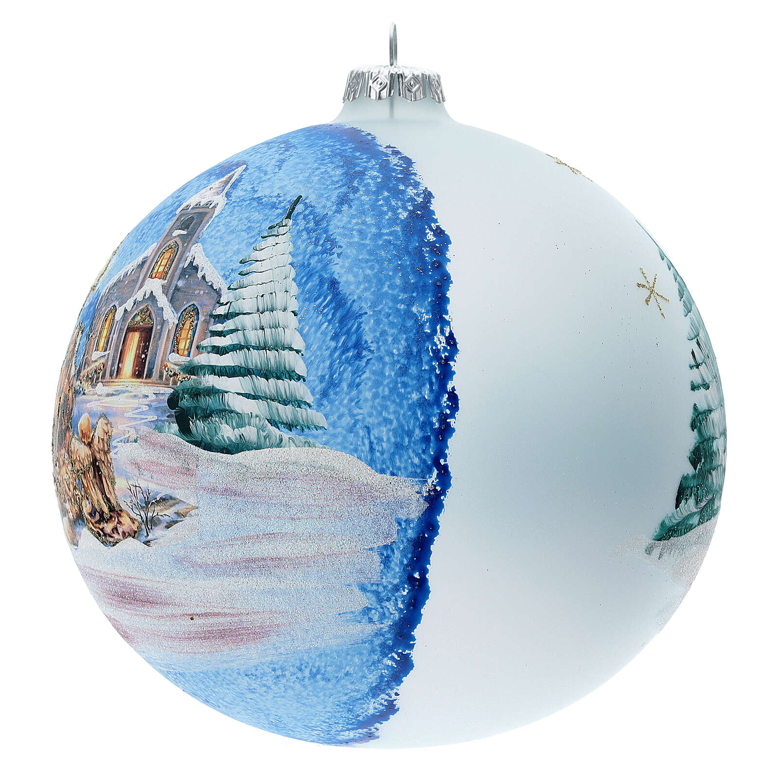 Christmas ball with Nordic Nativity and landscape in blown glass 150 mm 4