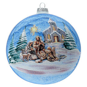 Christmas ball with Nordic Nativity and landscape in blown glass 150 mm s1