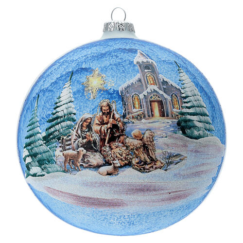 Christmas ball with Nordic Nativity and landscape in blown glass 150 mm 1